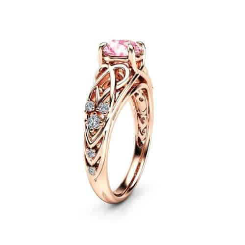 Celtic Pink Moissanite Engagement Ring