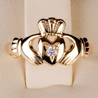Claddagh Ring with Precious Stone in 14ct gold