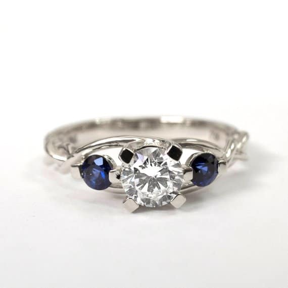 Three stone Sapphire and Diamond Celtic ring