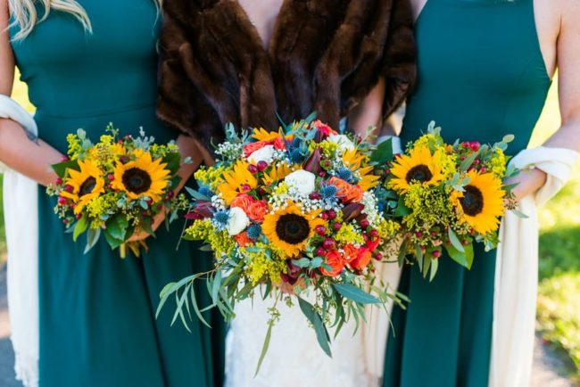 sunflower-and-blue-thistle-bouquets