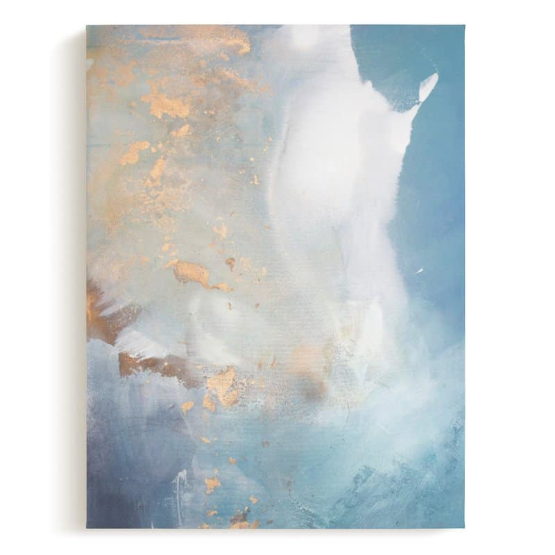 undertow minted wall canvas painted abstract blue green and gold