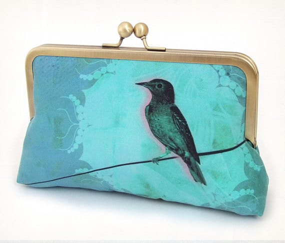 Blue bird silk clutch bag 4th wedding anniversary gift