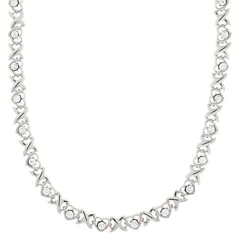 Crystal Heart Link Collar Necklace for a jewel neckline wedding dress