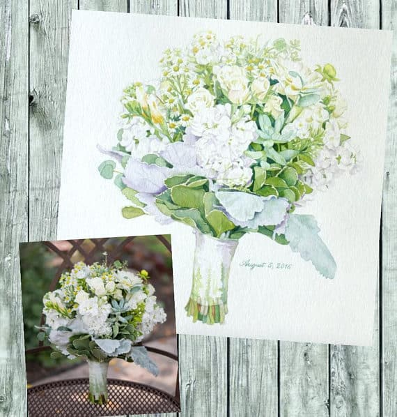 Custom Bridal Wedding Bouquet Portrait for 4th wedding Anniversary gift