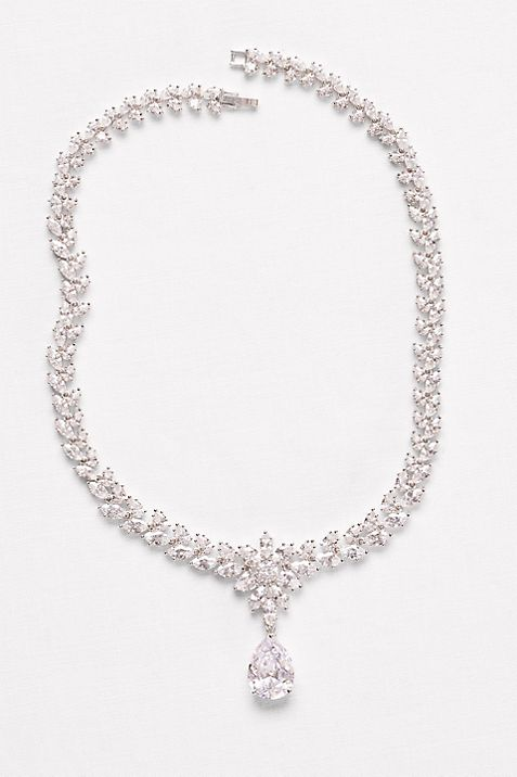 Extravagant Cubic Zirconia Collar Necklace for a bateau neckline wedding dress