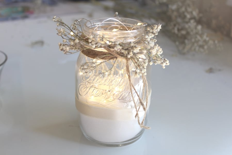 baby breath and lights mason jar DIY