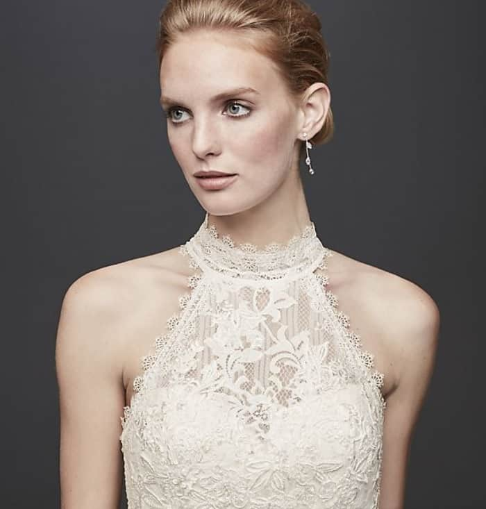 example of a high halter wedding dress neckline