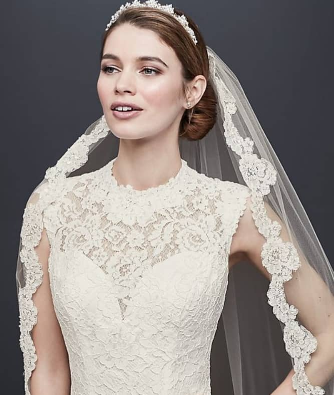 example of a wedding gown with a jewel neckline