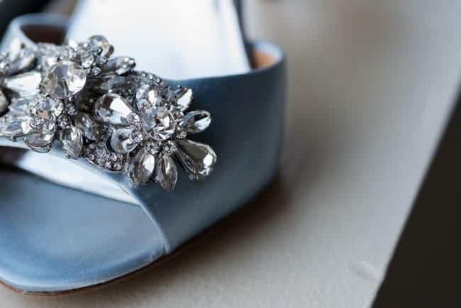 sky blue peep toe crystal heels