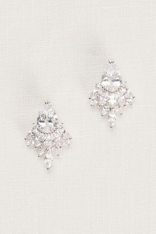 stud earrings for a bateau necklined wedding dress