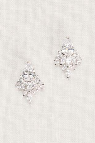 stud earrings for a bateau necklined wedding dress