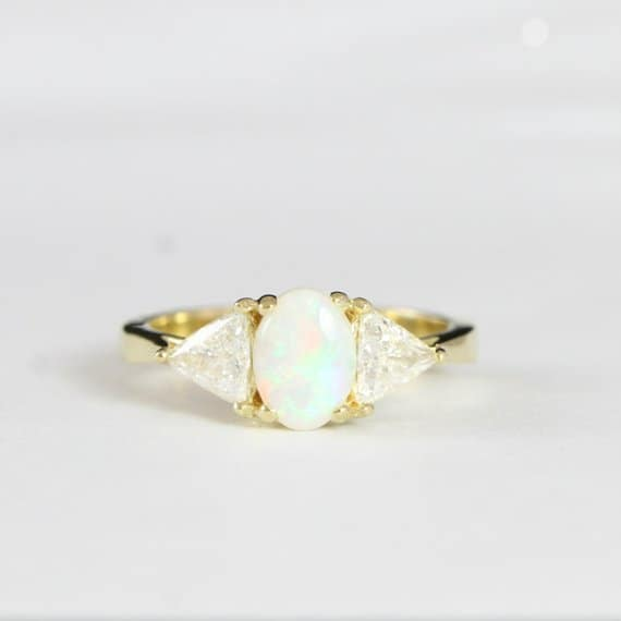 3 stone opal and trillion diamond Engagement ring