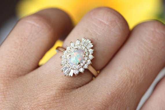 Art Deco diamond halo opal engagement ring
