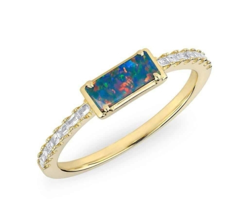 Opal engagment ring gold band