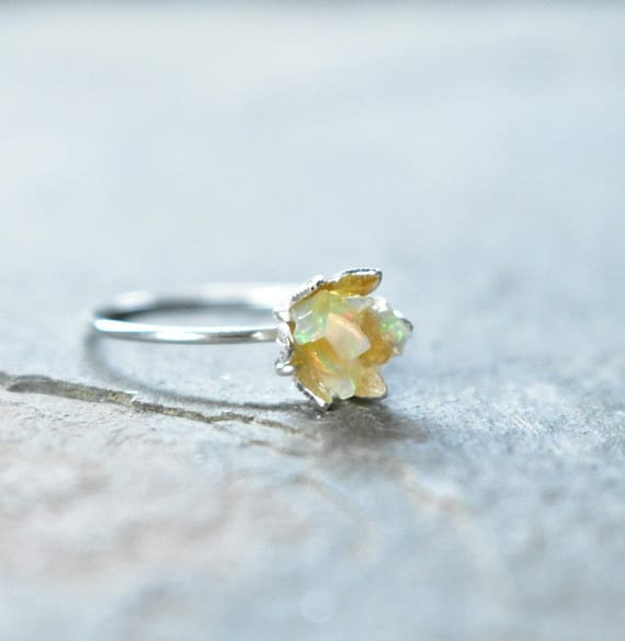 Unique Opal Lotus Flower Engagement Ring