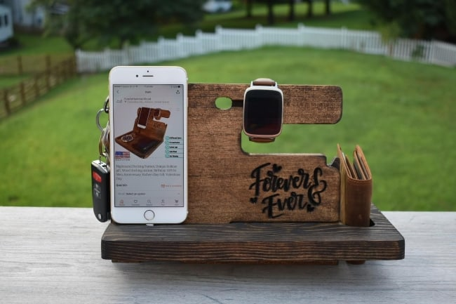 Wood docking station for 5th anniversary gift