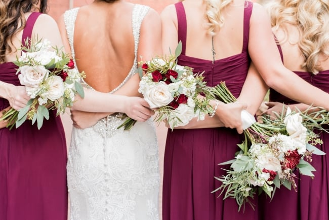 burgundy bridesmaid dress backs