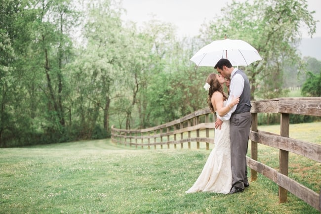couple kiss under white umbrella