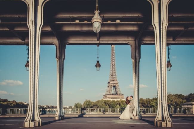 french castle elopement with Eiffel Tower background