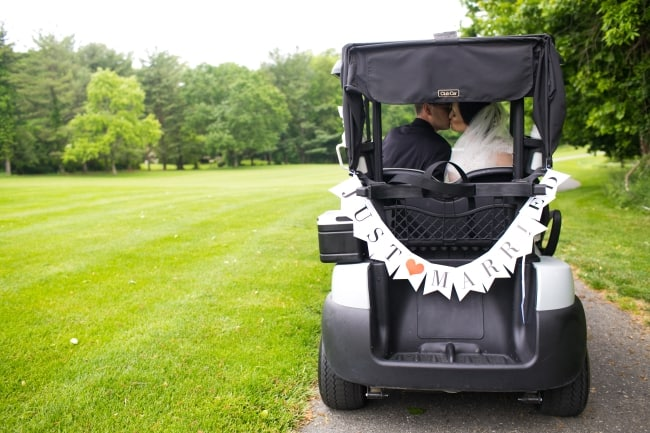 golf cart with JUST MARRIED sign