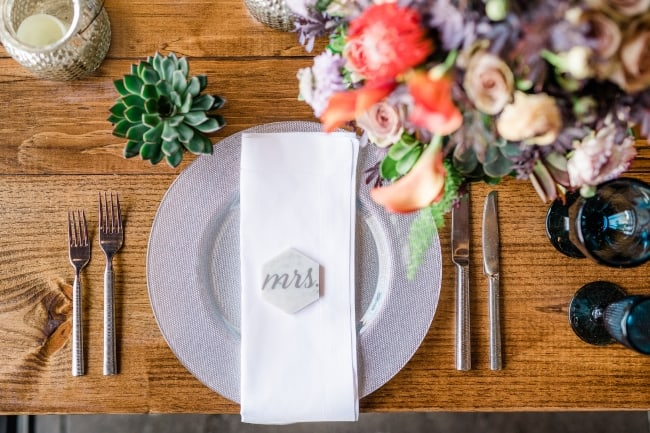 gray charger table setting