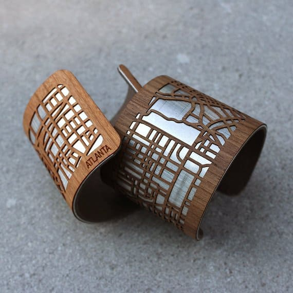 laser cut map wood cuff bracelet for fifth anniversary