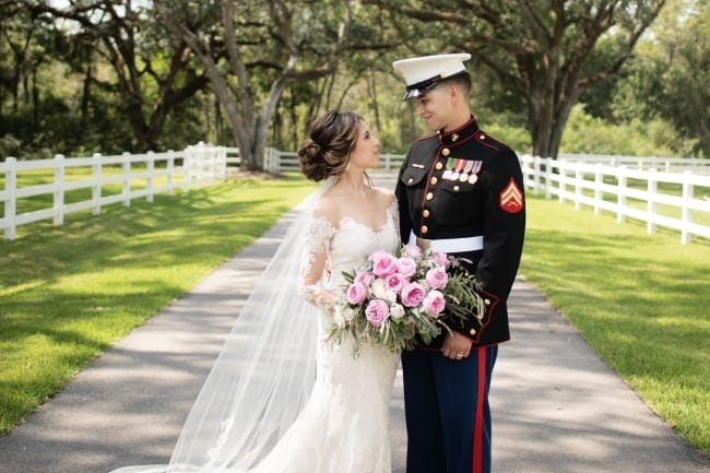 military boho plantation wedding