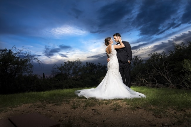 newlywed portrait at dusk in Tuscon
