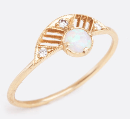 art deco fan opal ring