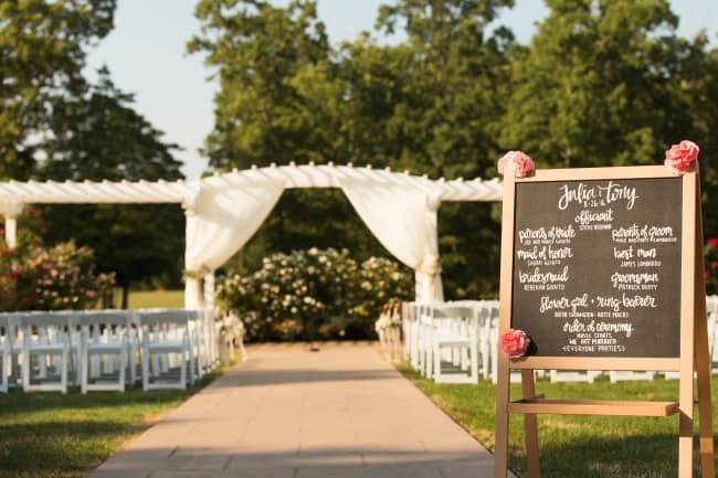 outdoor ceremony with chalkboard sign