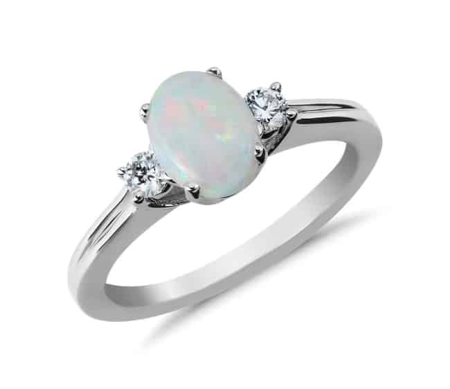 oval Opal and Diamond engagement Ring