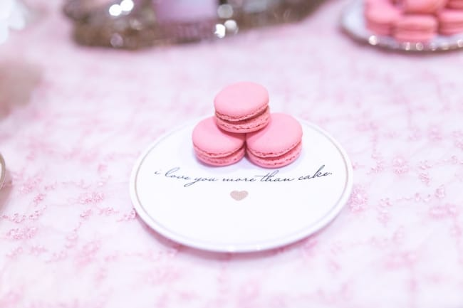 three macarons on custom plate