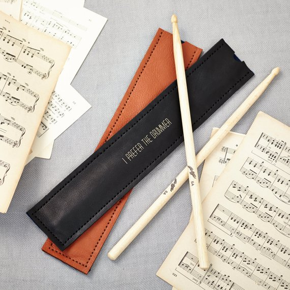 Black Leather Drumstick Holder – personalised gifts for musicians
