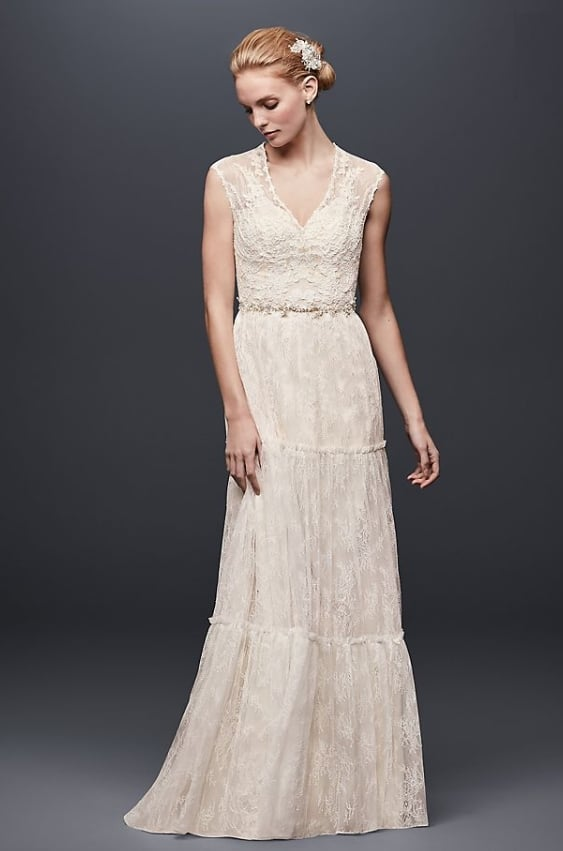 Chantilly Lace Cap-Sleeve Sheath Wedding Dress for second marriage