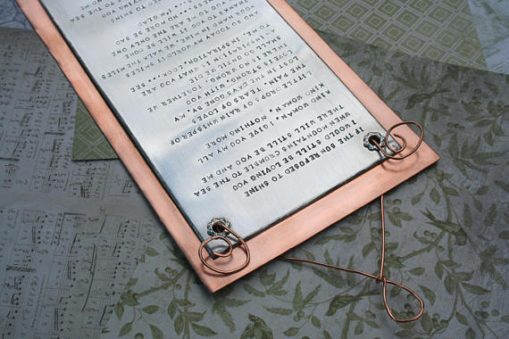 Custom song lyrics on aluminum backed with copper gifts for musicians