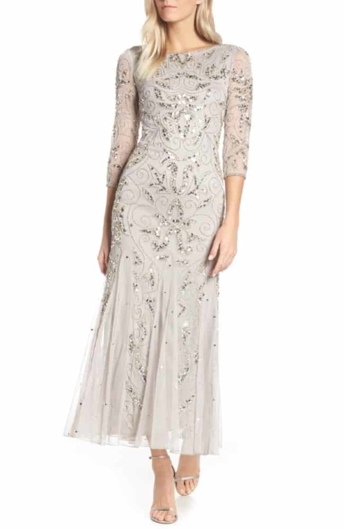 Embellished Mesh Gown for second marriage dress