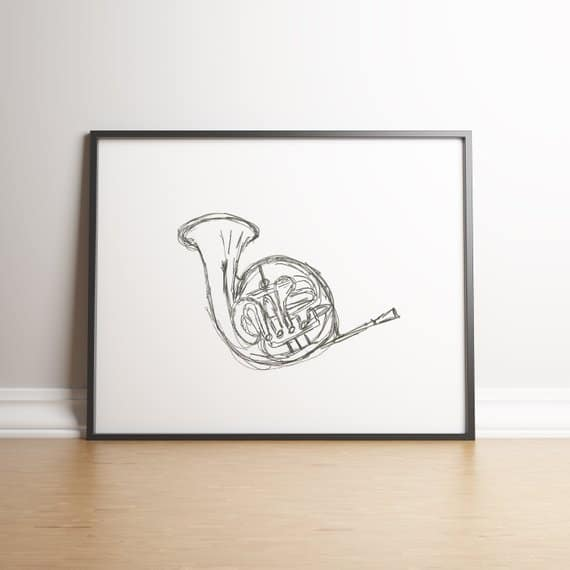 French horn wall art for musician gift