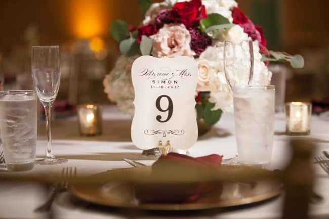 Gold, Burgandy and Pink Inspired Wedding feature