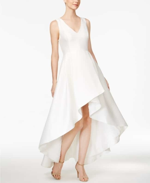 High-Low A-Line Gown for older bride