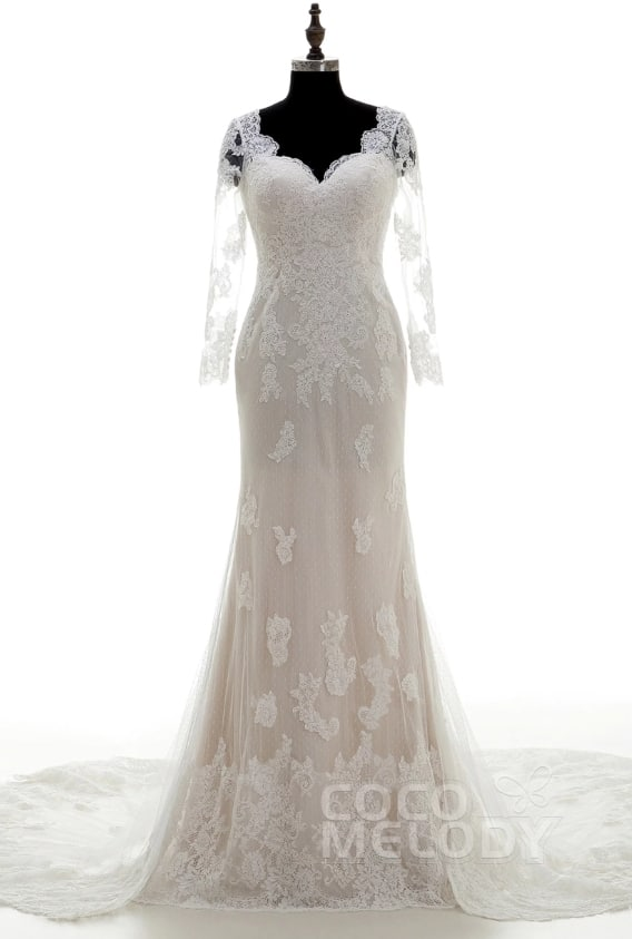 Long Sleeve Lace Wedding Dress with key hole back