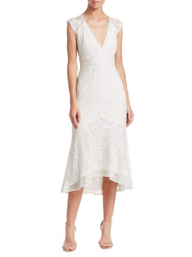 Monique Lhuillier midi dress for 2nd marriage wedding dress