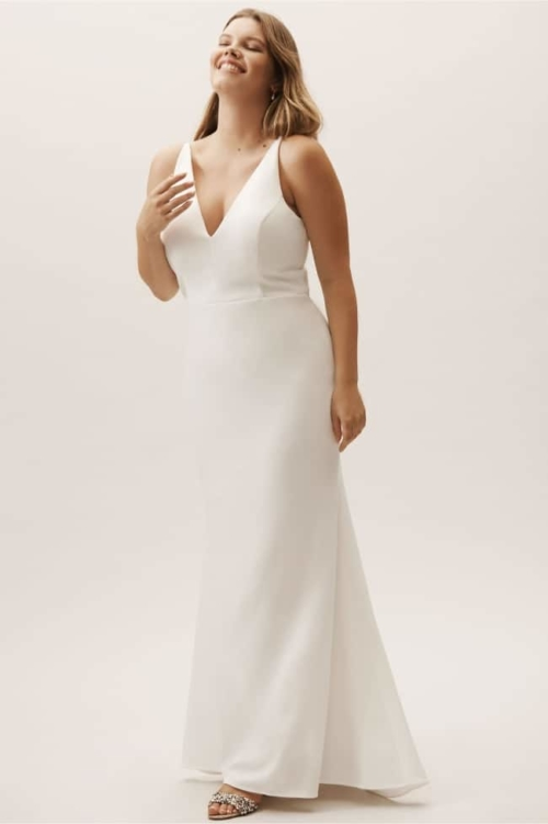 Sleek Fit and Flare V-Neck Dress for second wedding