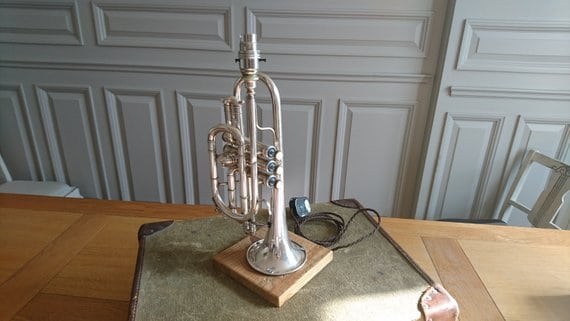 Vintage trumpet cornet table lamp gift for musician