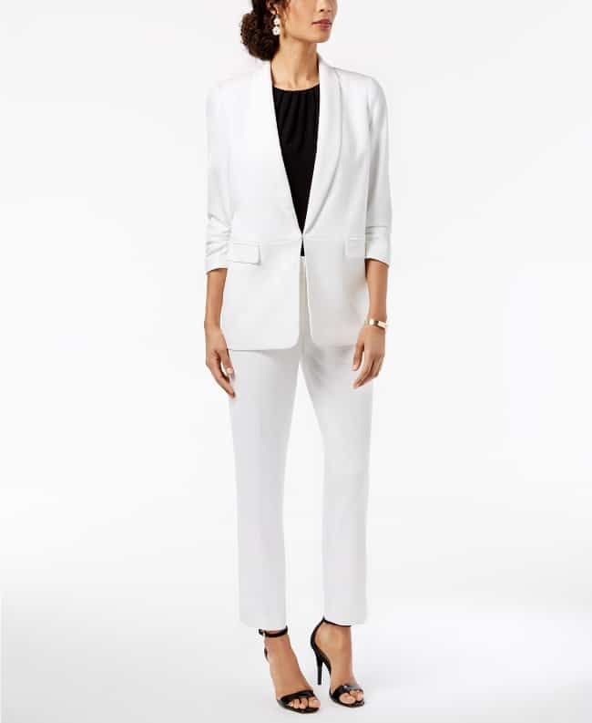 White pant suit for bride on her second marriage