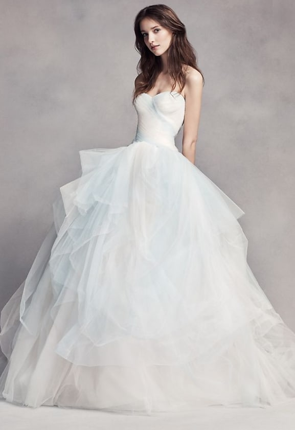 Blue Ombre Tulle Wedding Dress For 2nd Marriage