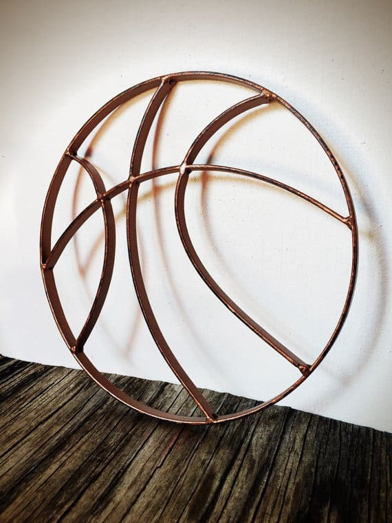 hammered copper finish basketball metal wall art for anniversary gift