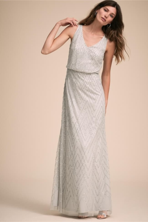 v-neck shimmering bead wedding gown for mature bride