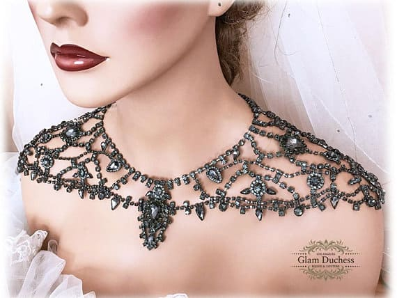 Black Hematite Bridal Shoulder Necklace
