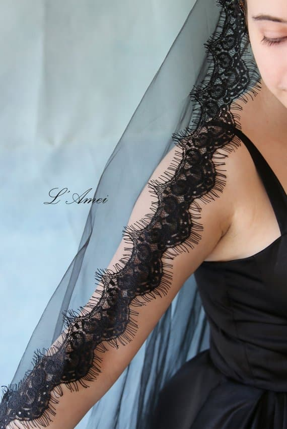 Black Soft Lace bridal veil