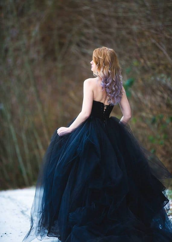Black Wedding Dress with Tulle Skirt